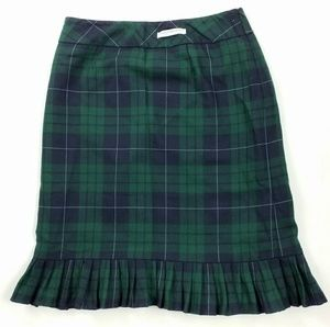 Pendleton Green Blue Tartan Plaid Skirt 10 Ruffle